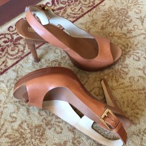 Michael Kors camel leather sling back heels